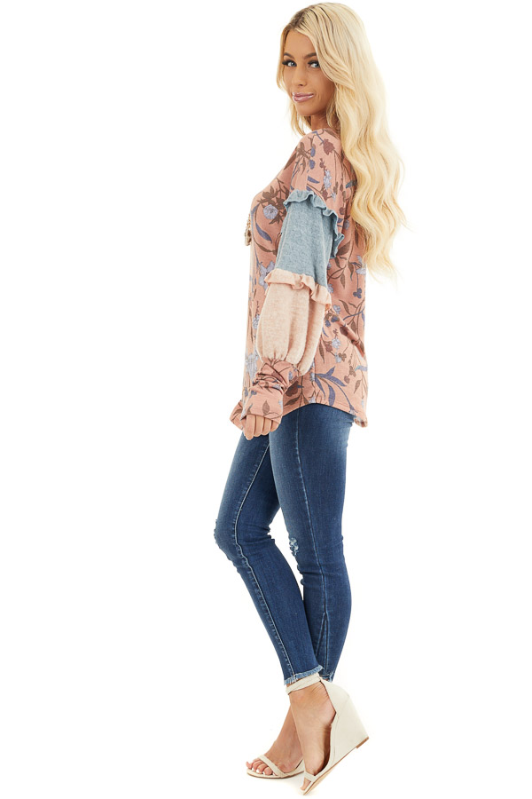 Coral Floral Print Top with Long Multicolor Sleeves side full body