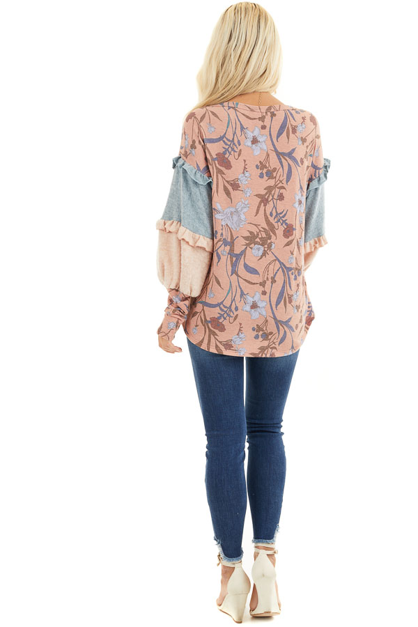 Coral Floral Print Top with Long Multicolor Sleeves back full body