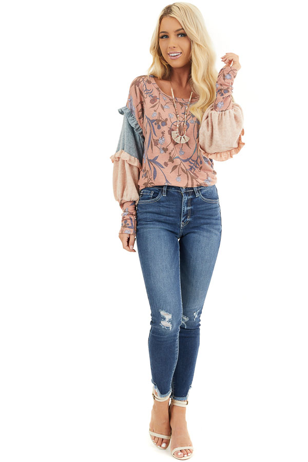 Coral Floral Print Top with Long Multicolor Sleeves front full body