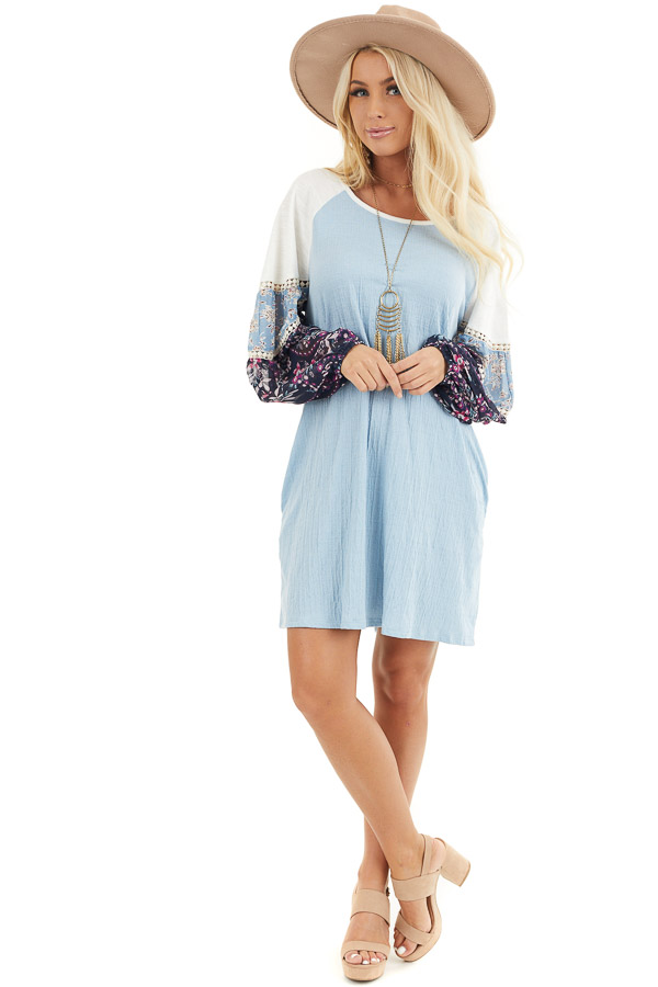 Sky Blue Mini Dress with Long Multiprint Bubble Sleeves front full body