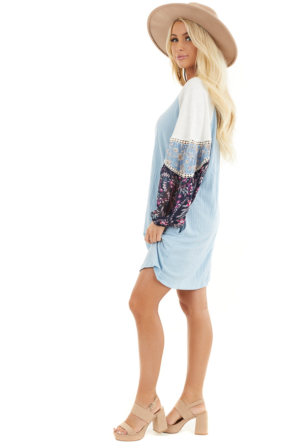 Sky Blue Mini Dress with Long Multiprint Bubble Sleeves side full body