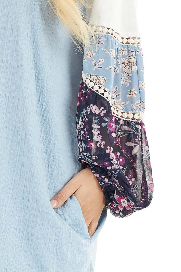 Sky Blue Mini Dress with Long Multiprint Bubble Sleeves detail