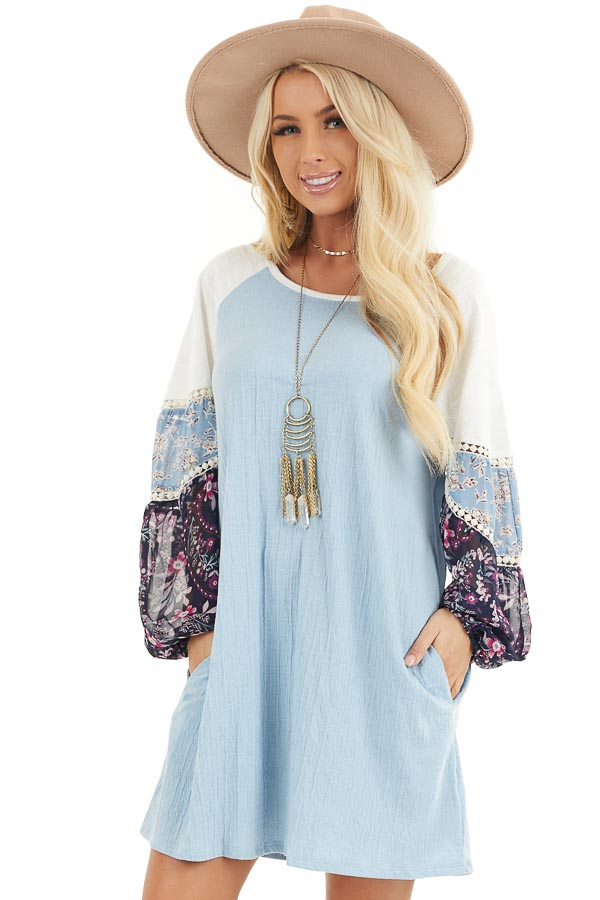 Sky Blue Mini Dress with Long Multiprint Bubble Sleeves front close up