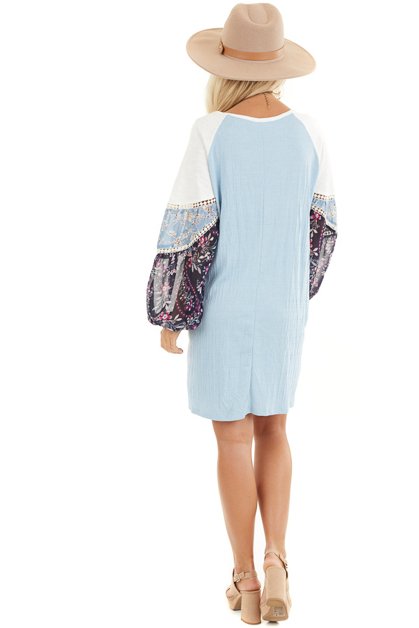 Sky Blue Mini Dress with Long Multiprint Bubble Sleeves back full body