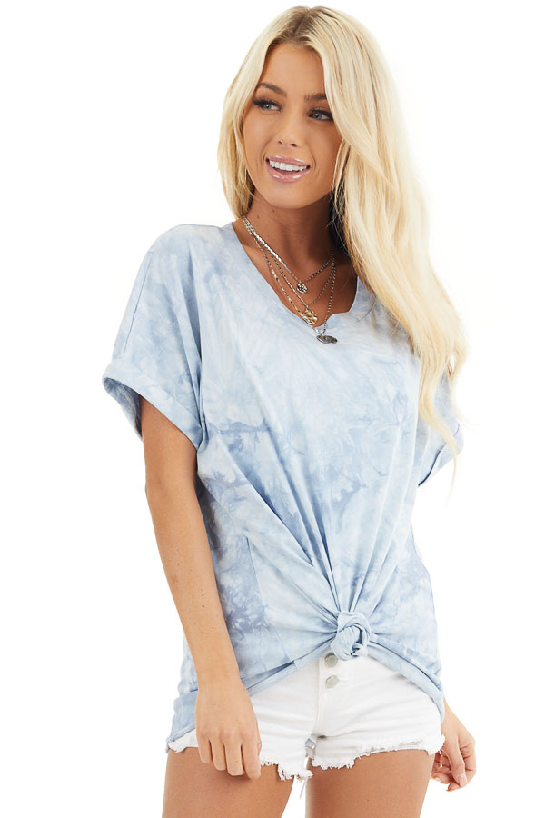 Dusty Blue Tie Dye Short Sleeve Tee front close up