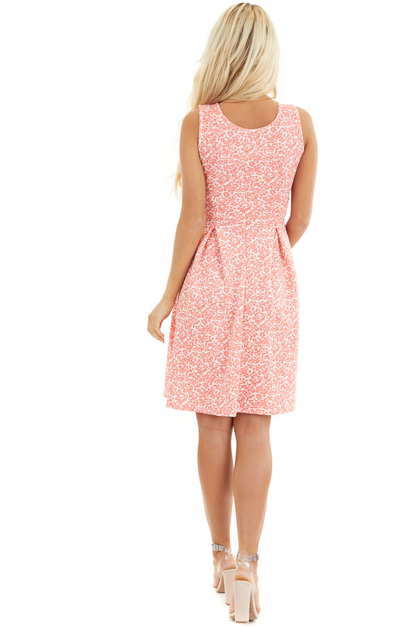 Coral and Ivory Floral Sleeveless Dress with Pleated Skirt back full body