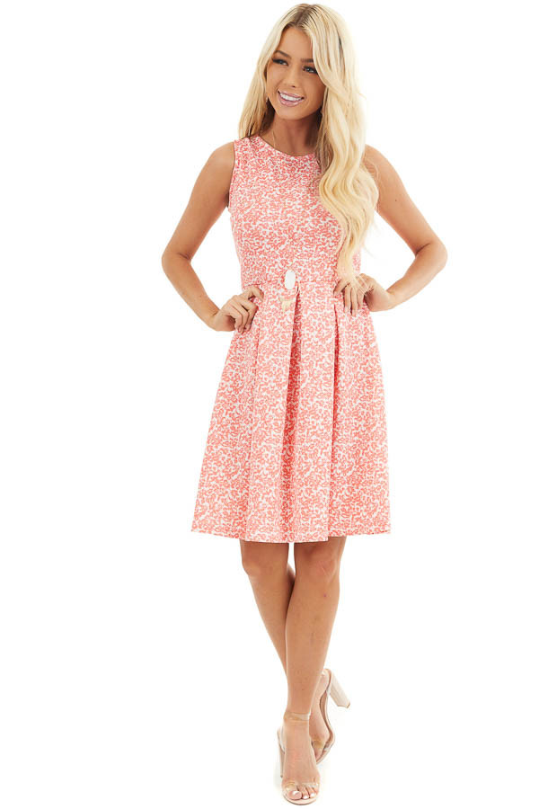 Coral and Ivory Floral Sleeveless Dress with Pleated Skirt front full body