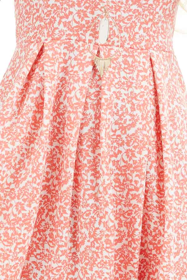 Coral and Ivory Floral Sleeveless Dress with Pleated Skirt detail
