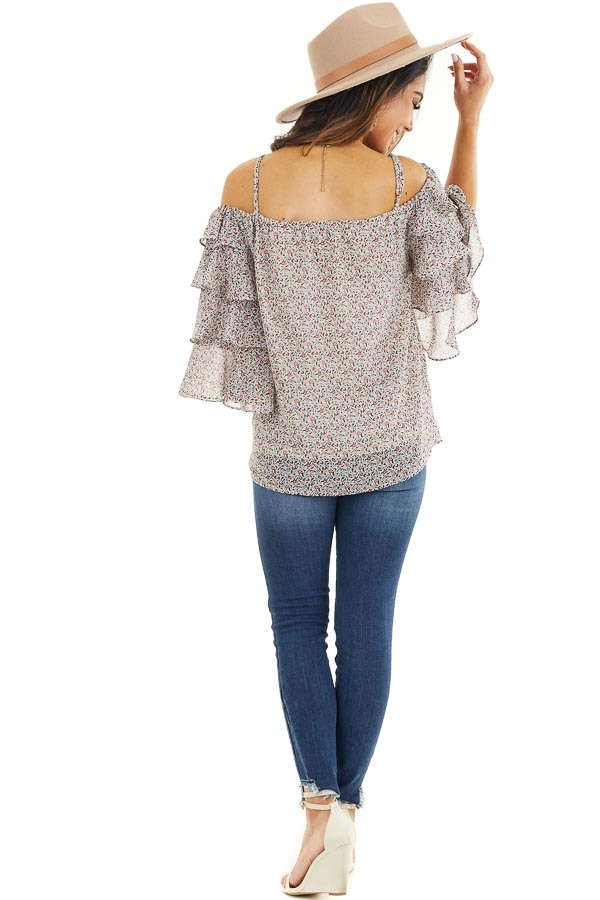 Ivory Floral Cold Shoulder Top with Tiered Ruffle Sleeves back full body