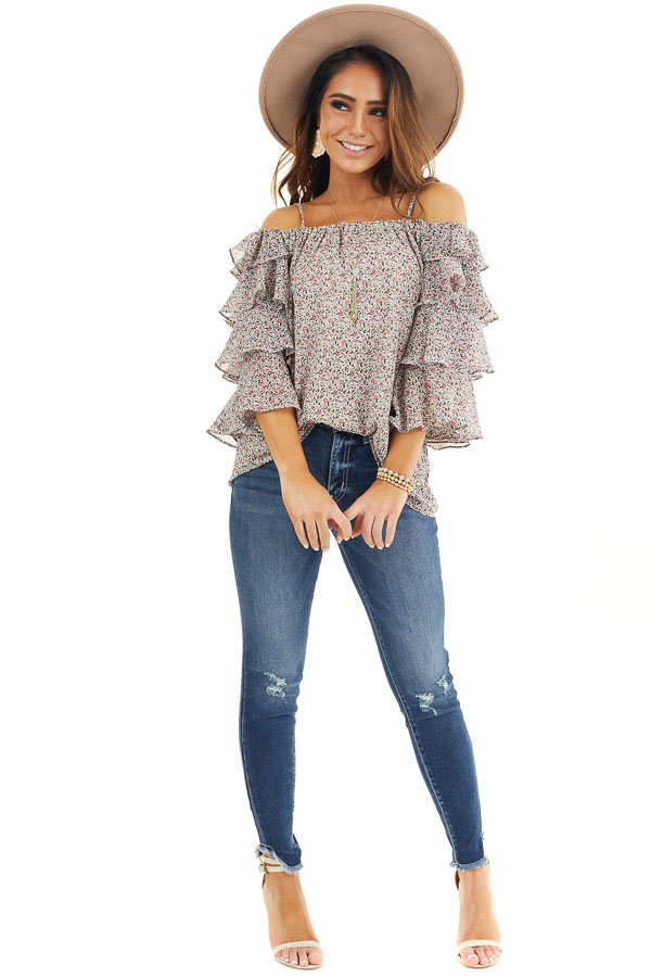 Ivory Floral Cold Shoulder Top with Tiered Ruffle Sleeves front full body