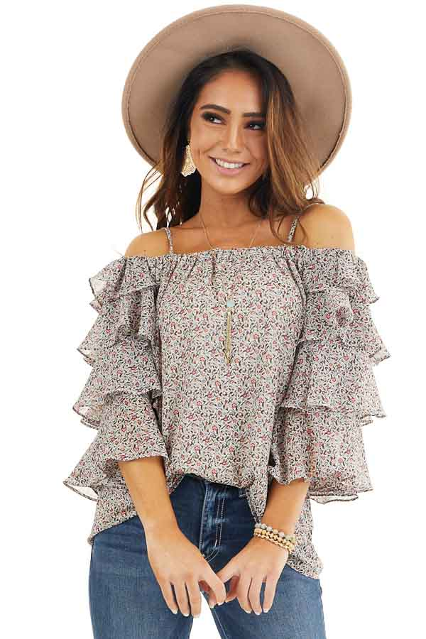 Ivory Floral Cold Shoulder Top with Tiered Ruffle Sleeves front close up