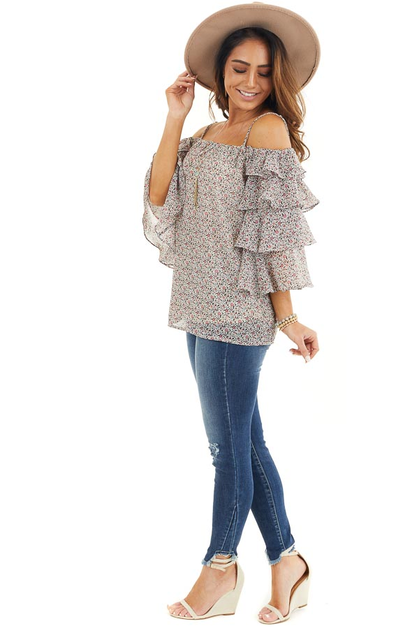 Ivory Floral Cold Shoulder Top with Tiered Ruffle Sleeves side full body