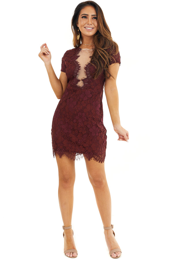 Wine Short Sleeve Lace Mini Dress with Scalloped Hemline front full body