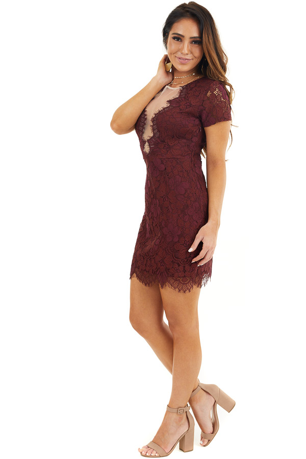 Wine Short Sleeve Lace Mini Dress with Scalloped Hemline side full body