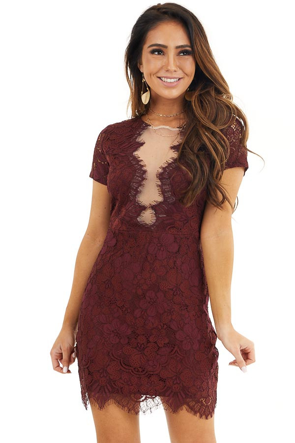 Wine Short Sleeve Lace Mini Dress with Scalloped Hemline front close up