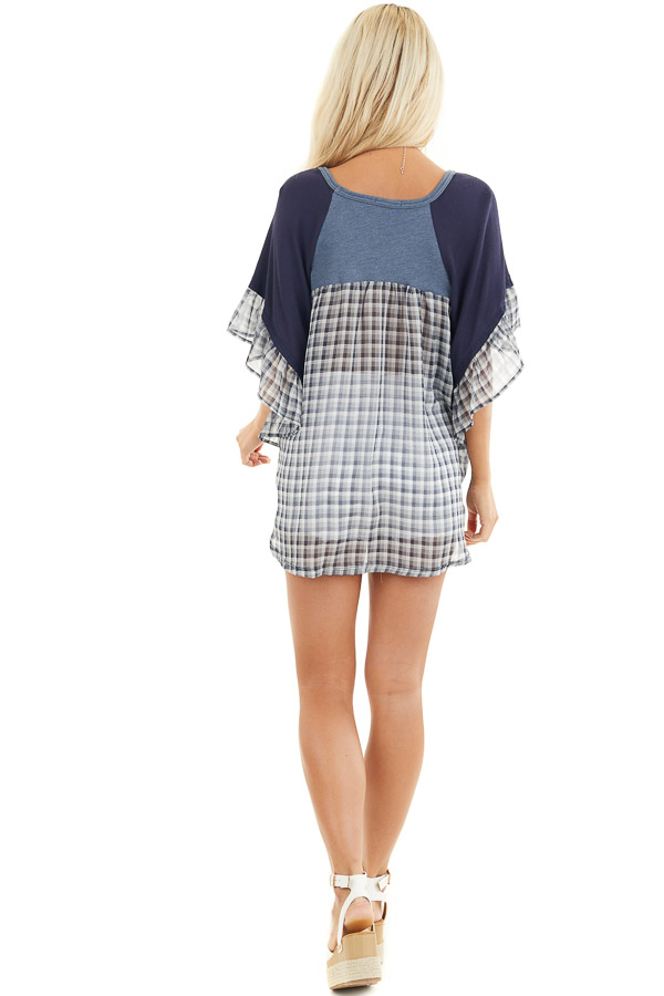 Navy and Dusty Blue Top with Plaid Print and Twist Detail back full body
