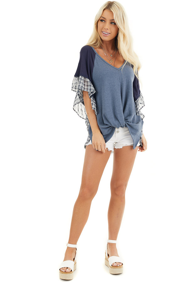 Navy and Dusty Blue Top with Plaid Print and Twist Detail front full body