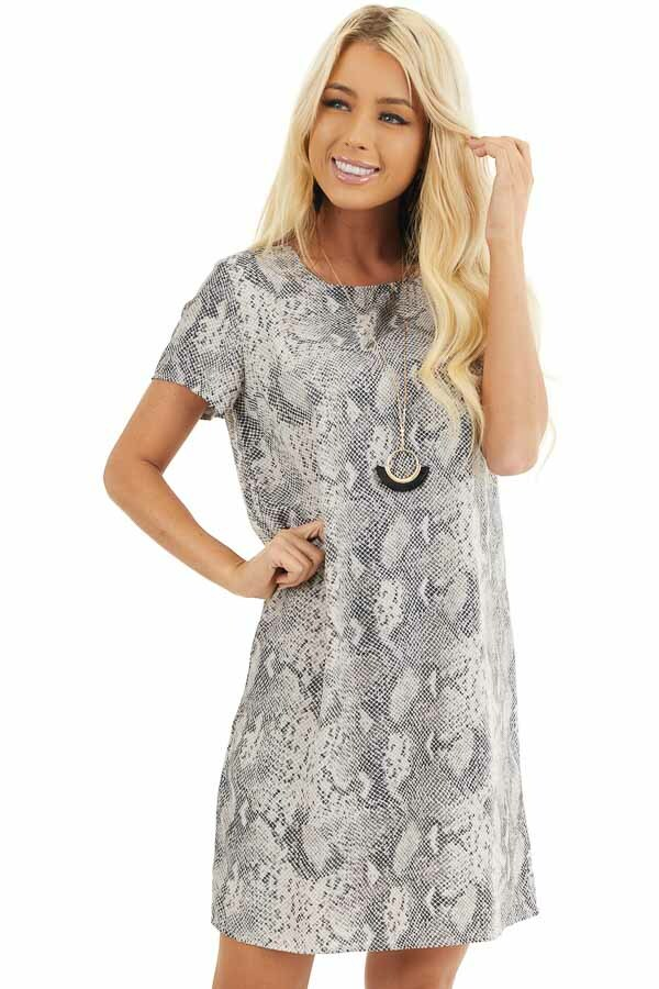 Heather Grey Snakeskin Print Short Sleeve Shift Dress front close up
