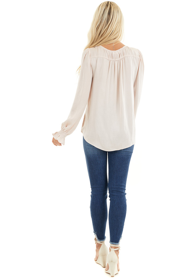 Pale Pink Long Sleeve Pleated Satin Top with V Neckline back full body
