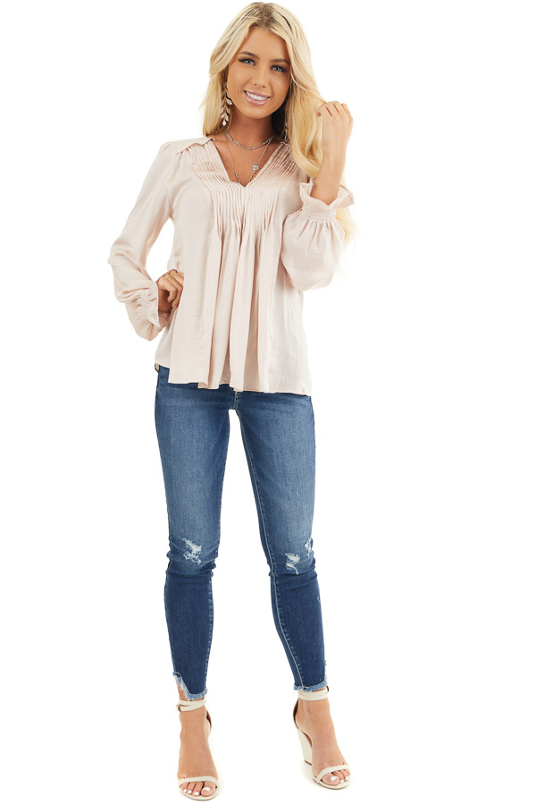 Pale Pink Long Sleeve Pleated Satin Top with V Neckline front full body