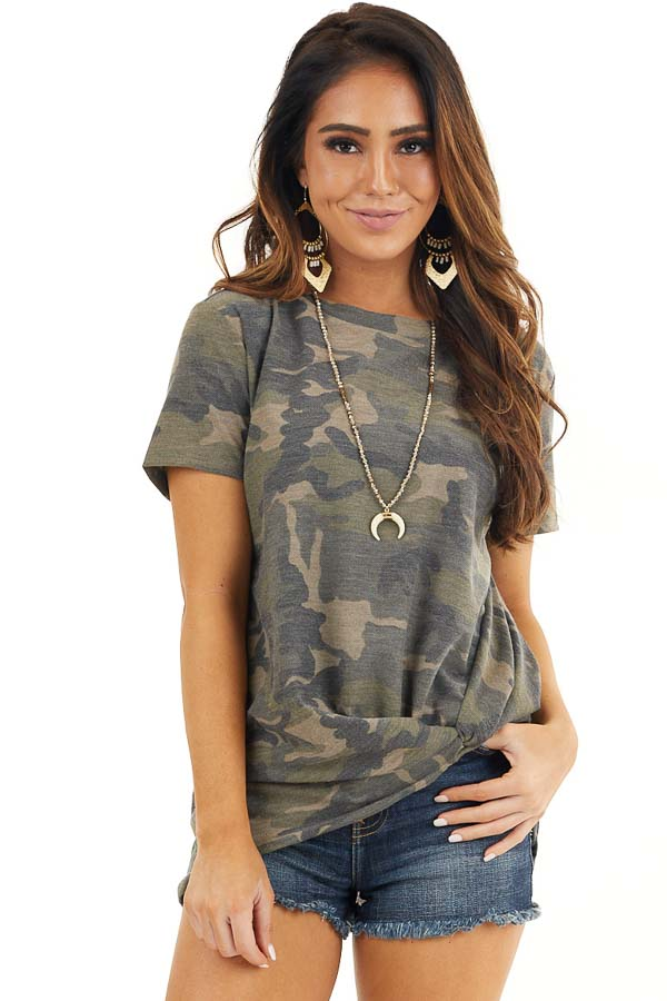 Hunter Green Camo Print Short Sleeve Top with Front Twist front close up