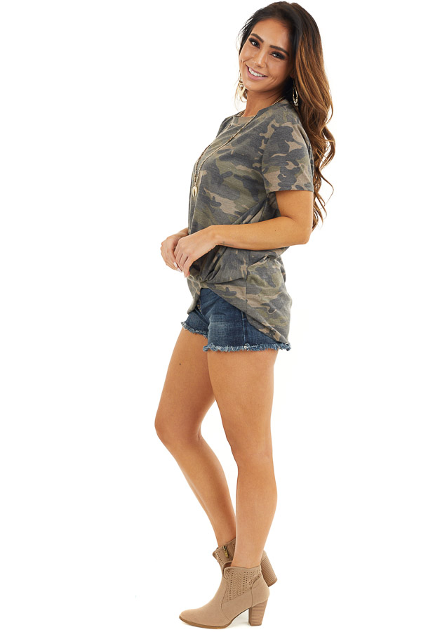 Hunter Green Camo Print Short Sleeve Top with Front Twist side full body