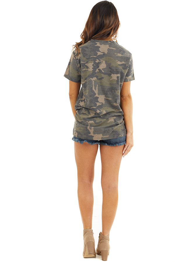 Hunter Green Camo Print Short Sleeve Top with Front Twist back full body