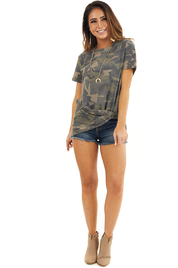 Hunter Green Camo Print Short Sleeve Top with Front Twist front full body