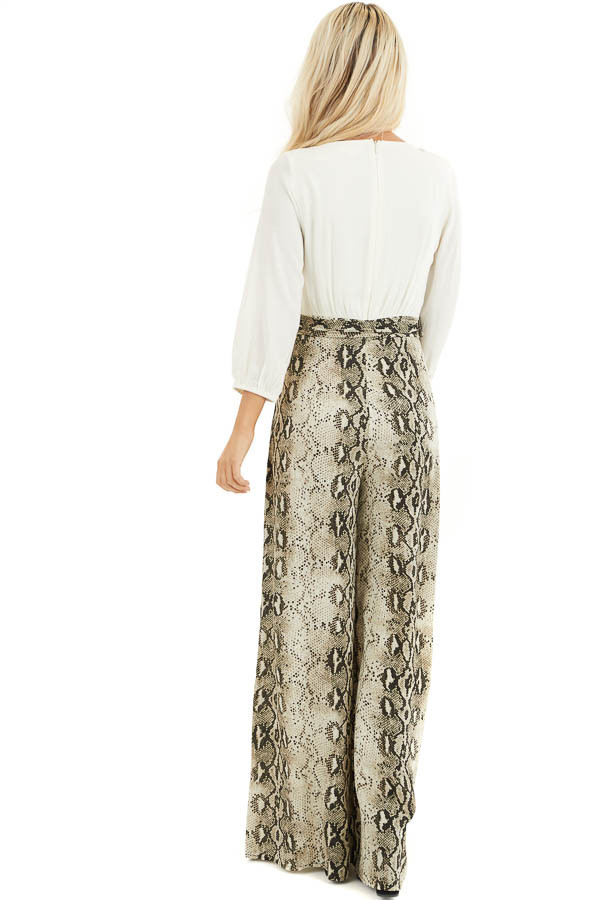 Ivory with Snakeskin Print Contrast Woven Jumpsuit back full body