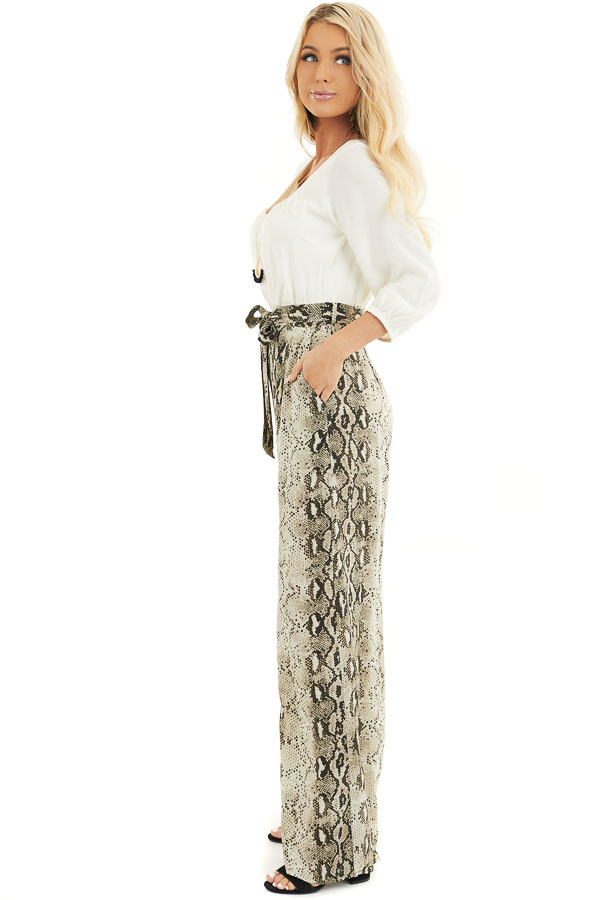 Ivory with Snakeskin Print Contrast Woven Jumpsuit side full body