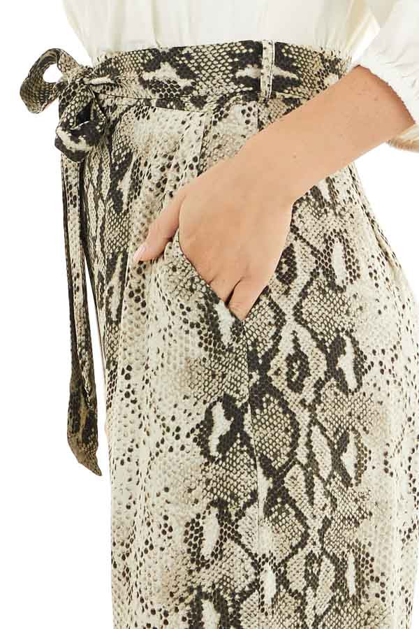 Ivory with Snakeskin Print Contrast Woven Jumpsuit detail