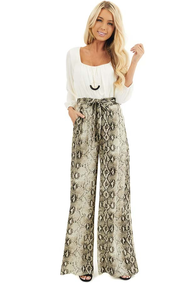 Ivory with Snakeskin Print Contrast Woven Jumpsuit front full body
