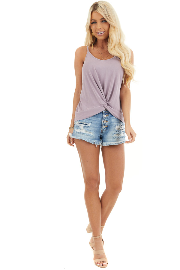 Lavender Super Soft Knit V Neck Tank Top with Front Twist front full body