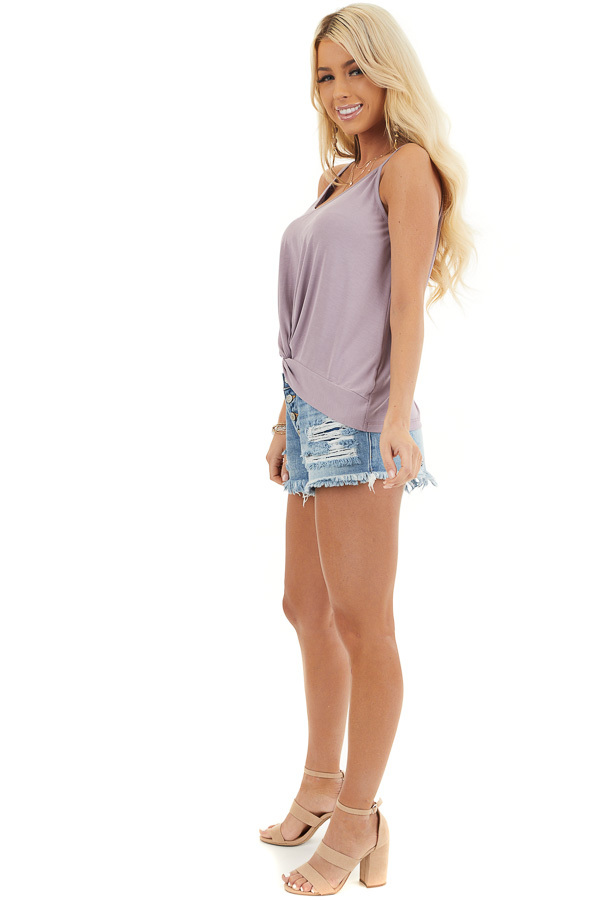 Lavender Super Soft Knit V Neck Tank Top with Front Twist side full body