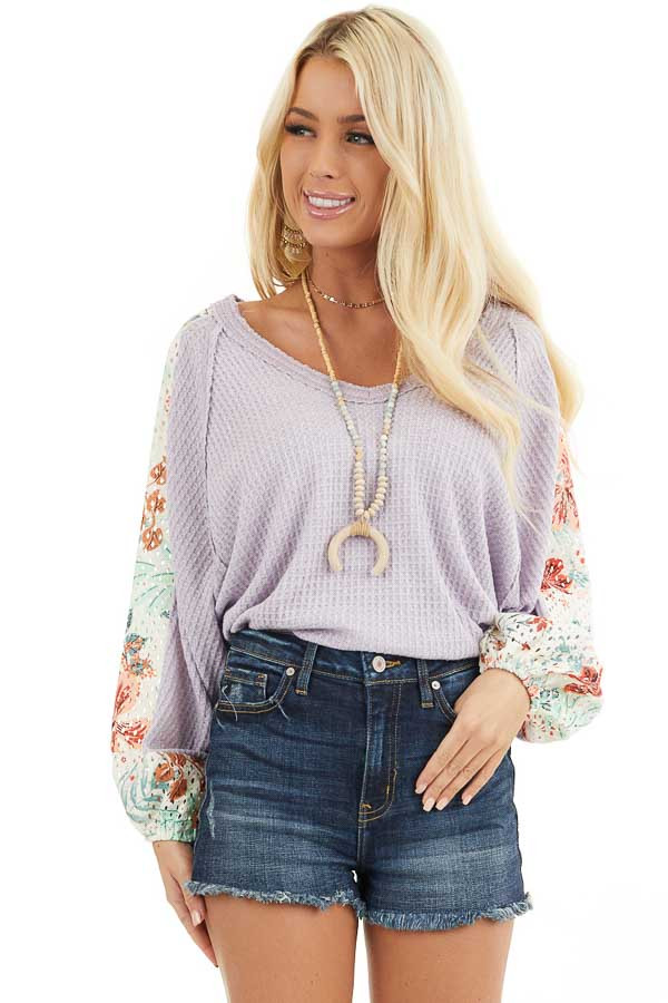 Lavender Waffle Knit Top with Floral Print Contrast Sleeves front close up