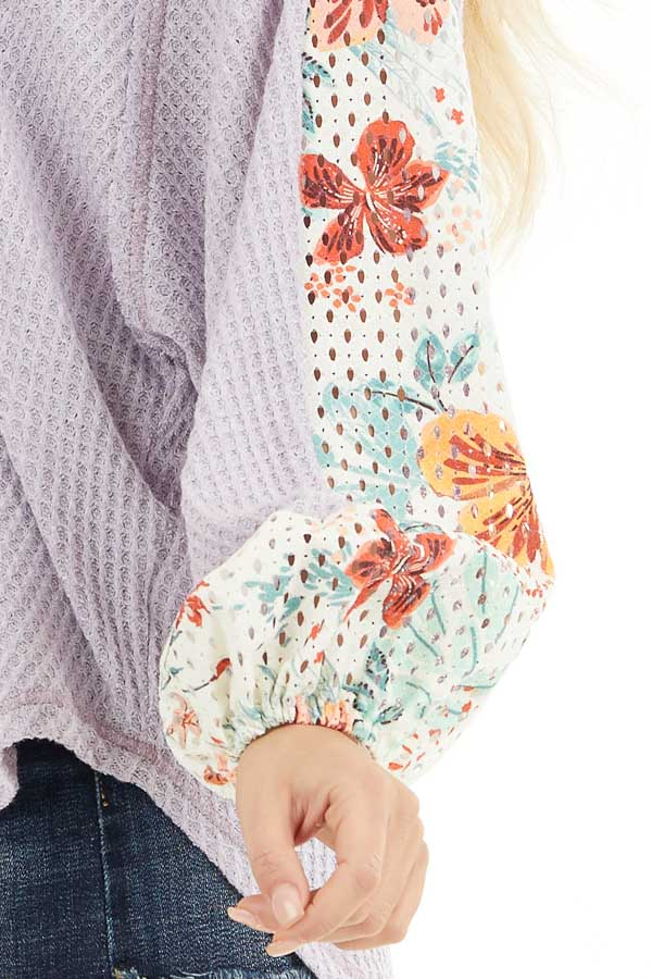 Lavender Waffle Knit Top with Floral Print Contrast Sleeves detail