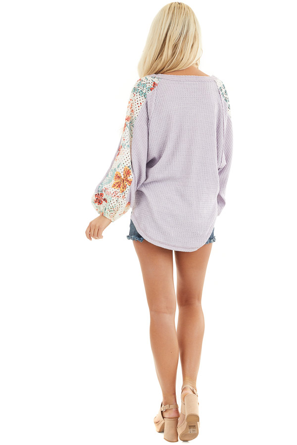 Lavender Waffle Knit Top with Floral Print Contrast Sleeves back full body