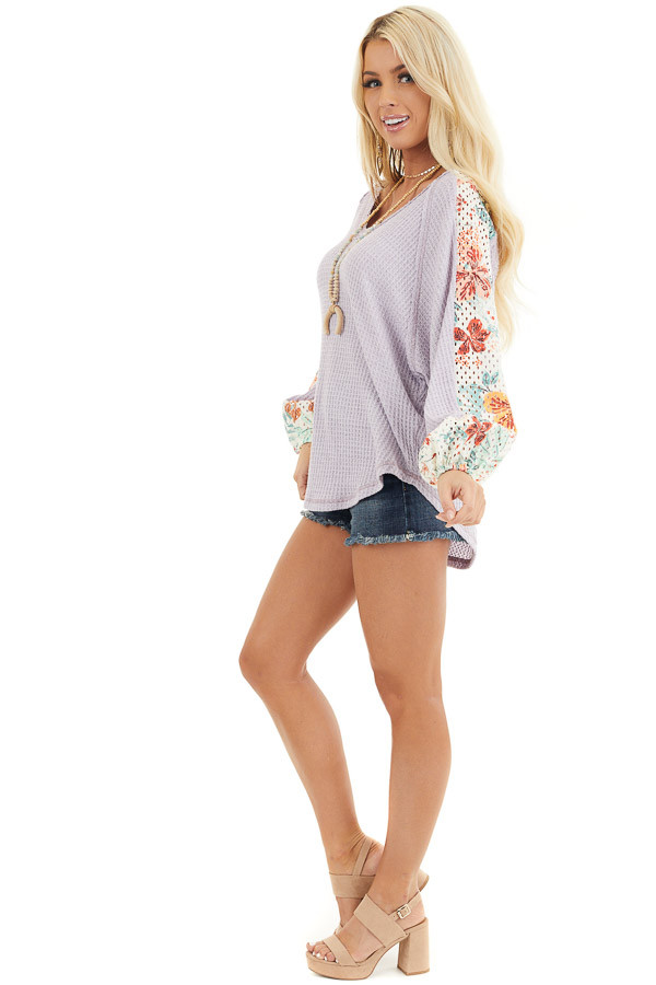 Lavender Waffle Knit Top with Floral Print Contrast Sleeves side full body