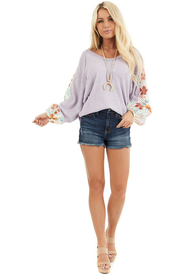 Lavender Waffle Knit Top with Floral Print Contrast Sleeves front full body