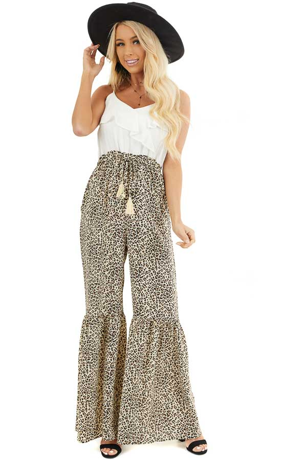 Off White Leopard Print Flare Jumpsuit with Tassel Details front full body