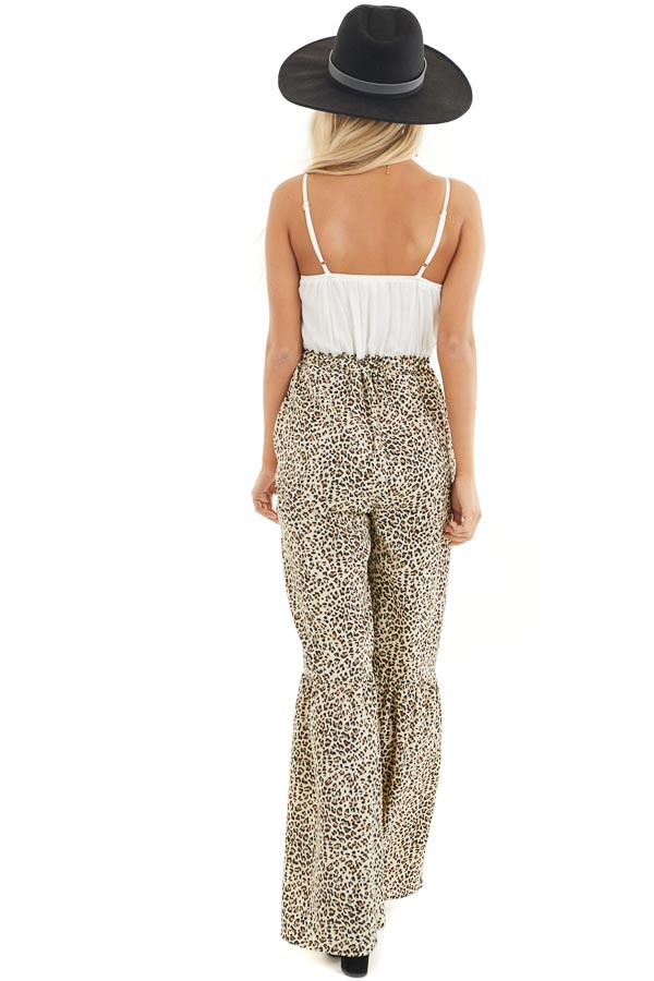Off White Leopard Print Flare Jumpsuit with Tassel Details back full body
