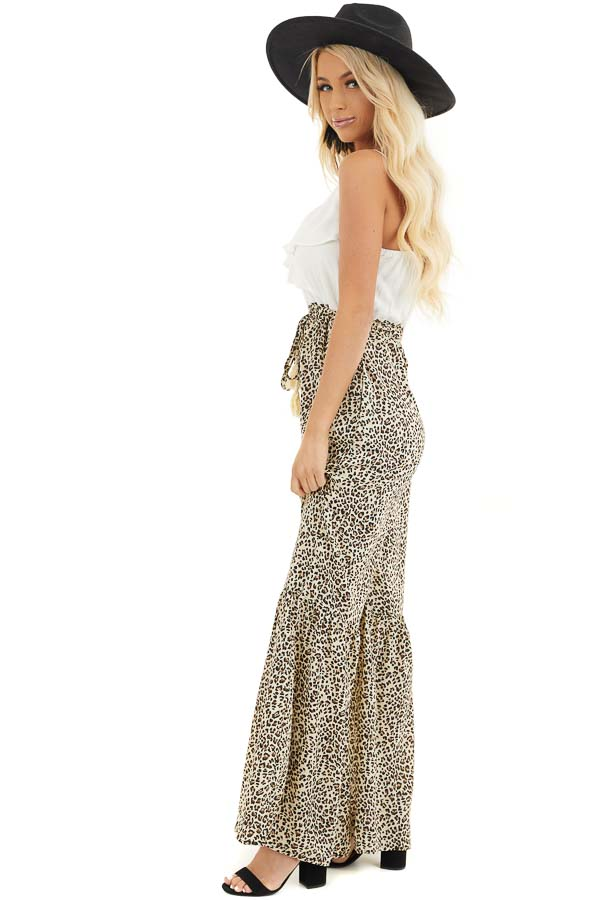 Off White Leopard Print Flare Jumpsuit with Tassel Details side full body
