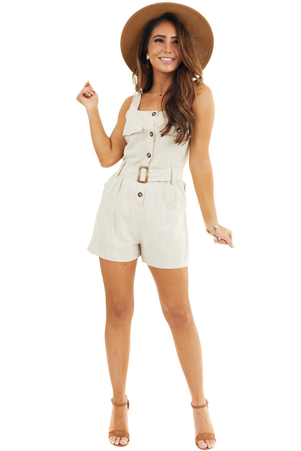 Cream Sleeveless Button Down Romper with Marbled Belt Buckle front full body