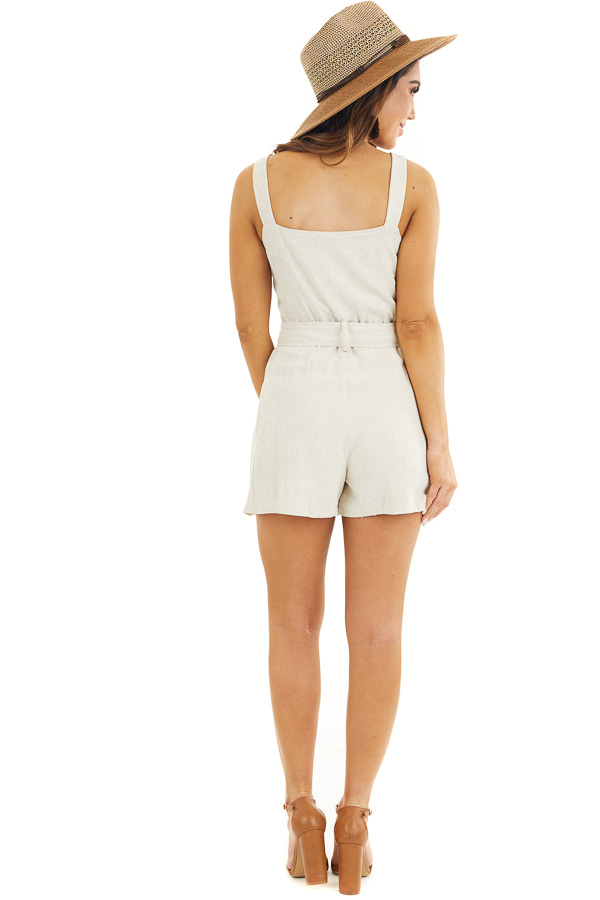 Cream Sleeveless Button Down Romper with Marbled Belt Buckle back full body