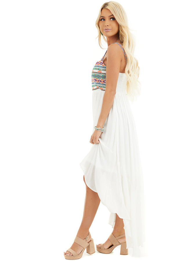 White High Low Dress with Colorful Aztec Embroidered Details side full body