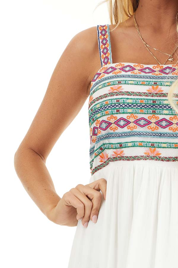 White High Low Dress with Colorful Aztec Embroidered Details detail