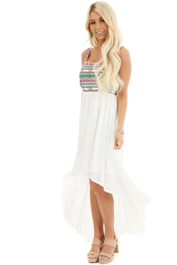 White High Low Dress with Colorful Aztec Embroidered Details front full body
