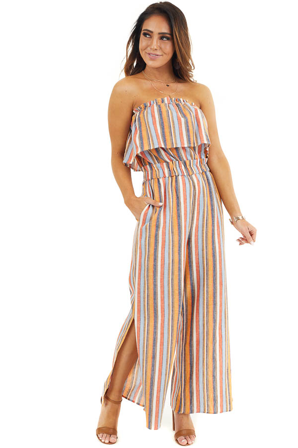 Multicolor Striped Strapless Jumpsuit with Leg Slit Details front full body