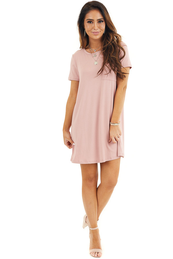 Dusty Rose Soft Knit Mini Dress with Short Sleeves front full body