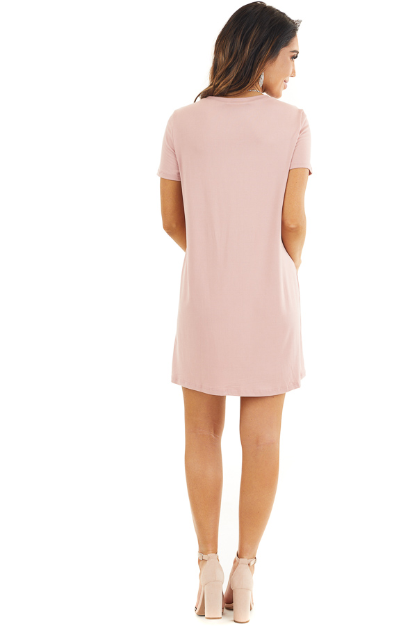 Dusty Rose Soft Knit Mini Dress with Short Sleeves back full body